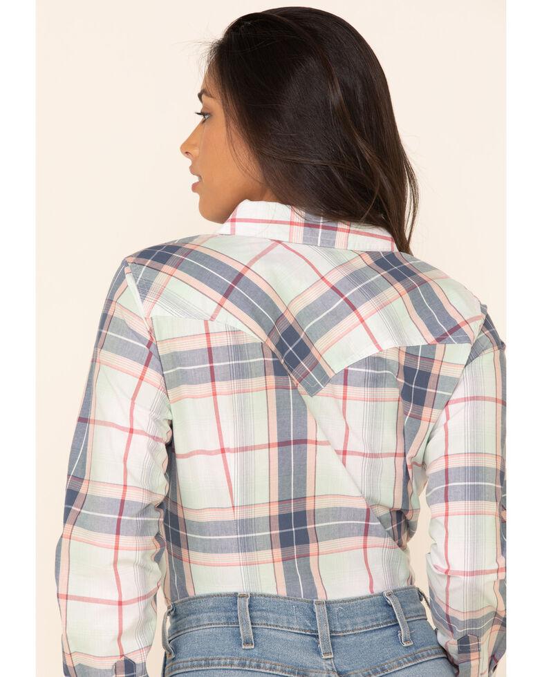 Wrangler Women's Ivory Plaid Embroidered Yoke Long Sleeve Western Shirt , Ivory, hi-res