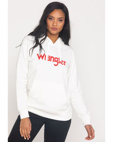 Wrangler Women's White Wired Logo Hoodie, White, hi-res
