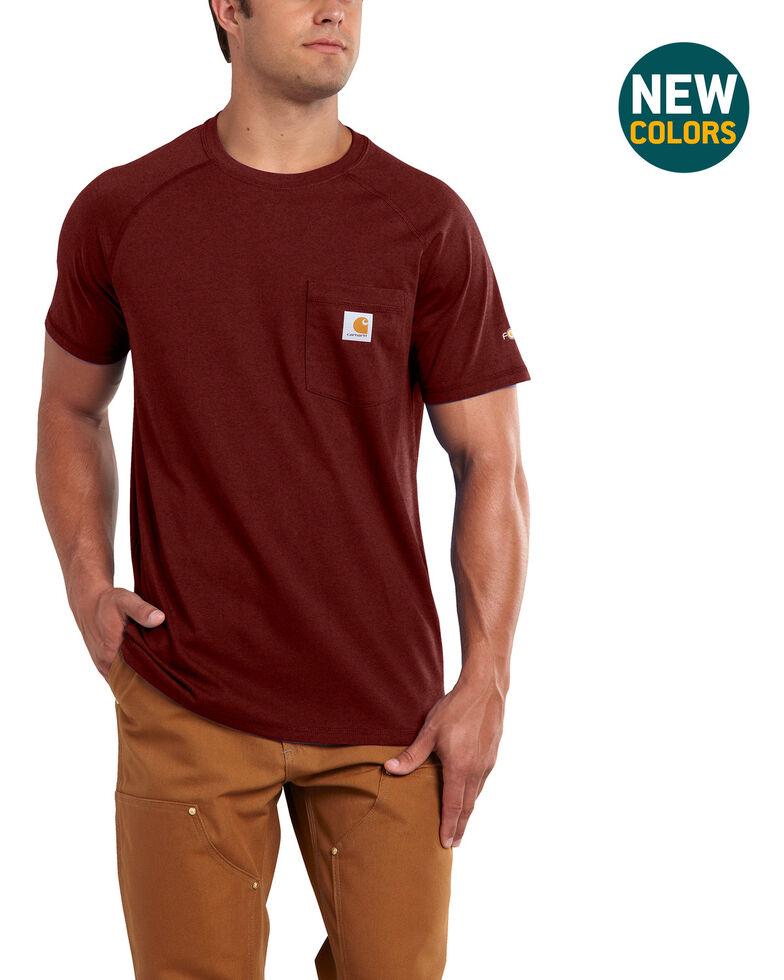 Carhartt Force Men's Cotton Delmont Short-Sleeve T-Shirt, Dark Red, hi-res