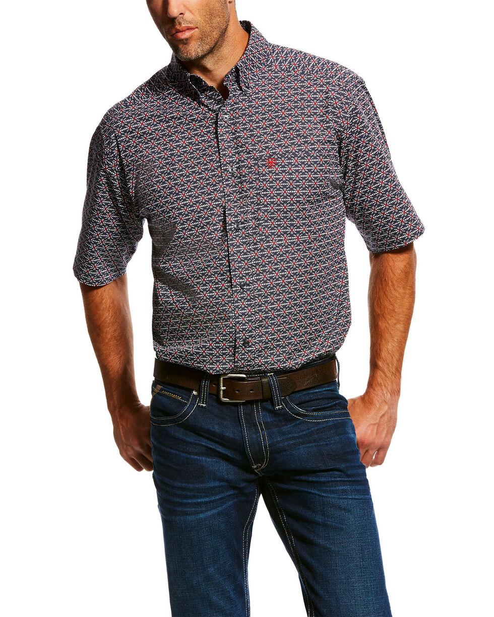 Ariat Men's Miers Aztec Print Short Sleeve Western Shirt , Black, hi-res