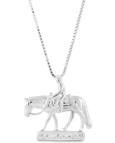 Kelly Herd Women's Small Western Pleasure Horse Necklace , Silver, hi-res