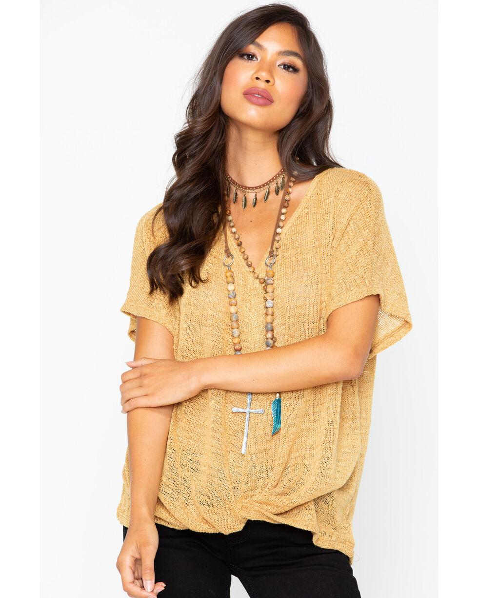 Sadie & Sage Women's Tie Up Short Sleeve Shirt, Gold, hi-res