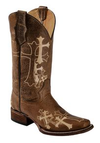 Circle G Cross Embroidered Cowgirl Boots - Square Toe, Chocolate, hi-res