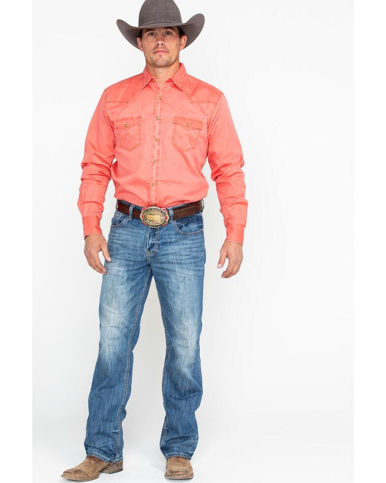 Wrangler Retro Men's Orange Solid Premium Long Sleeve Western Shirt , Orange, hi-res