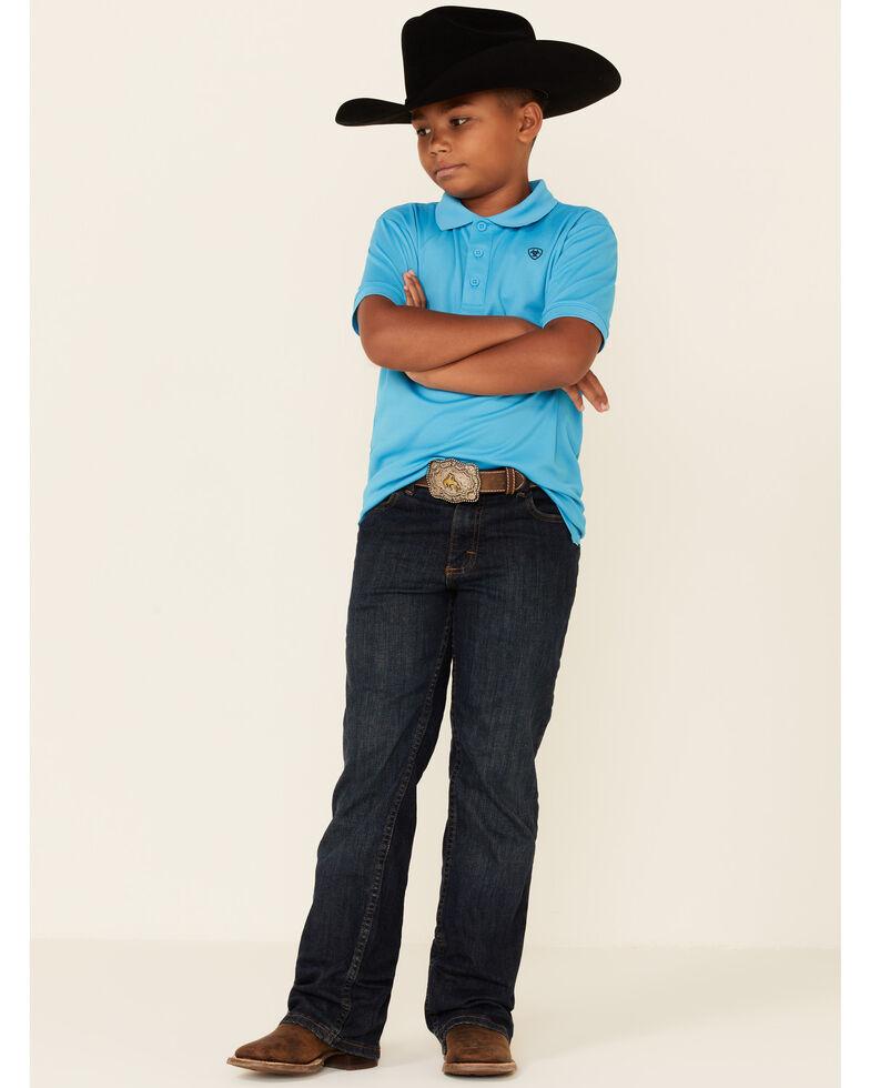 Ariat Boys' Solid Ocean Blue TEK Short Sleeve Polo Shirt , Blue, hi-res