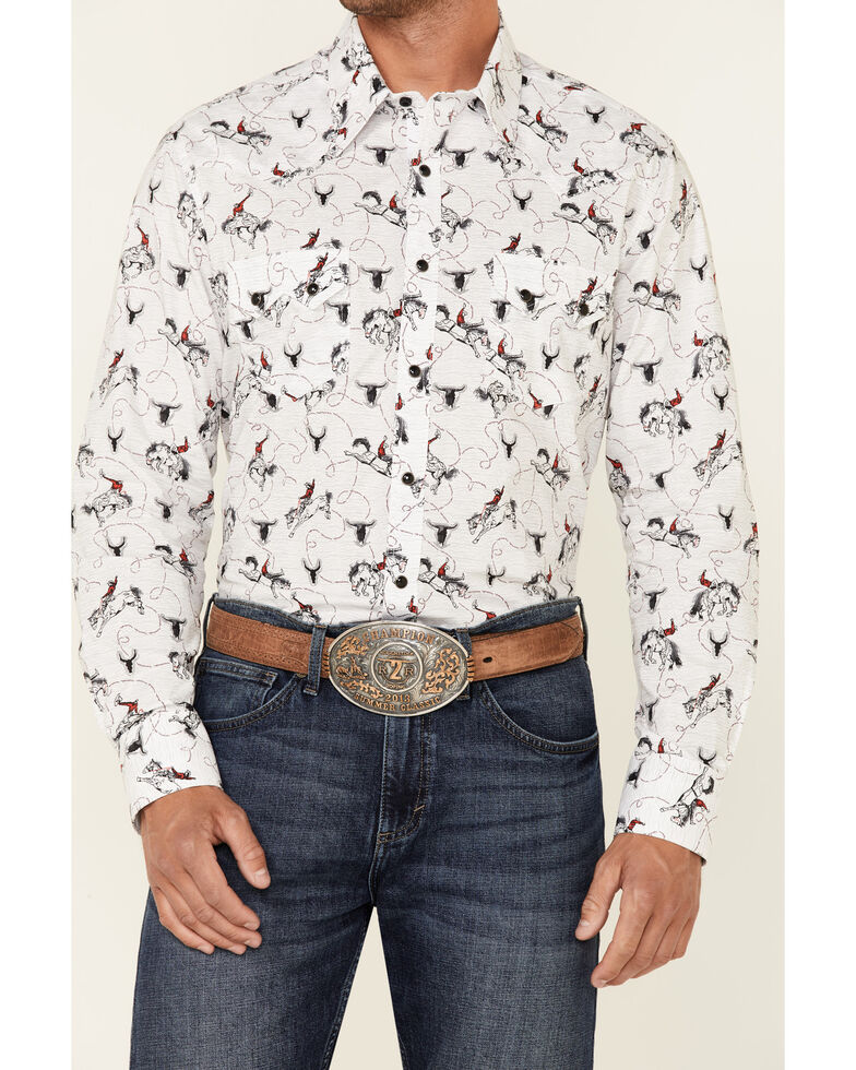 Dale Brisby Men's White All-Over Rider Print Long Sleeve Snap Western Shirt , White, hi-res