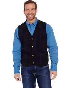 Cripple Creek Men's Suede Leather Vest, Black, hi-res
