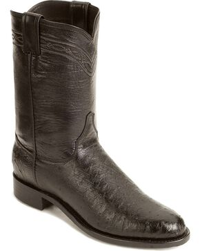 Justin Smooth Ostrich Roper Cowboy Boots, Black, hi-res
