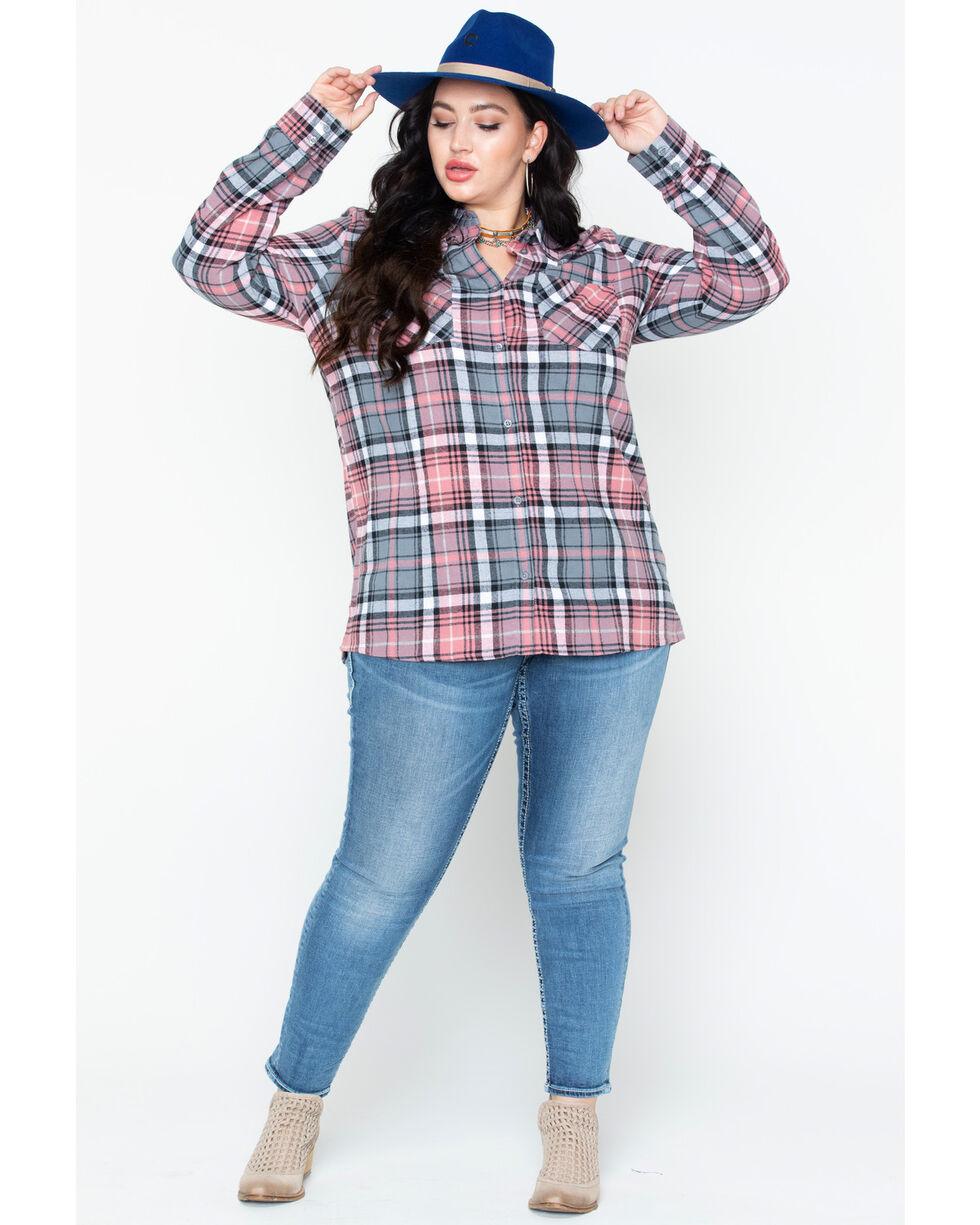Derek Heart Women's Cotton Flannel Plaid Tab Sleeve Shirt - Plus, Pink, hi-res