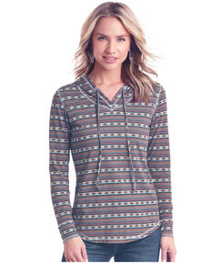 White Label by Panhandle Women's Aztec Stripe Hoodie Tee - Plus, Multi, hi-res