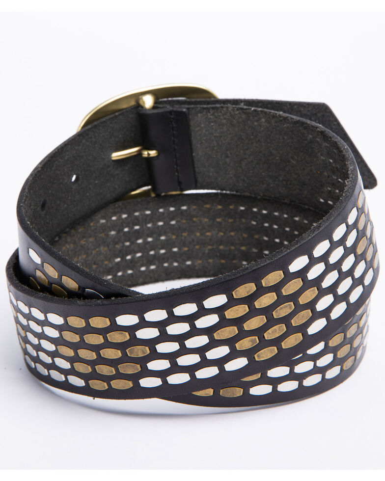 Idyllwind Women's Buckle Up Brass Studded Belt, Black, hi-res