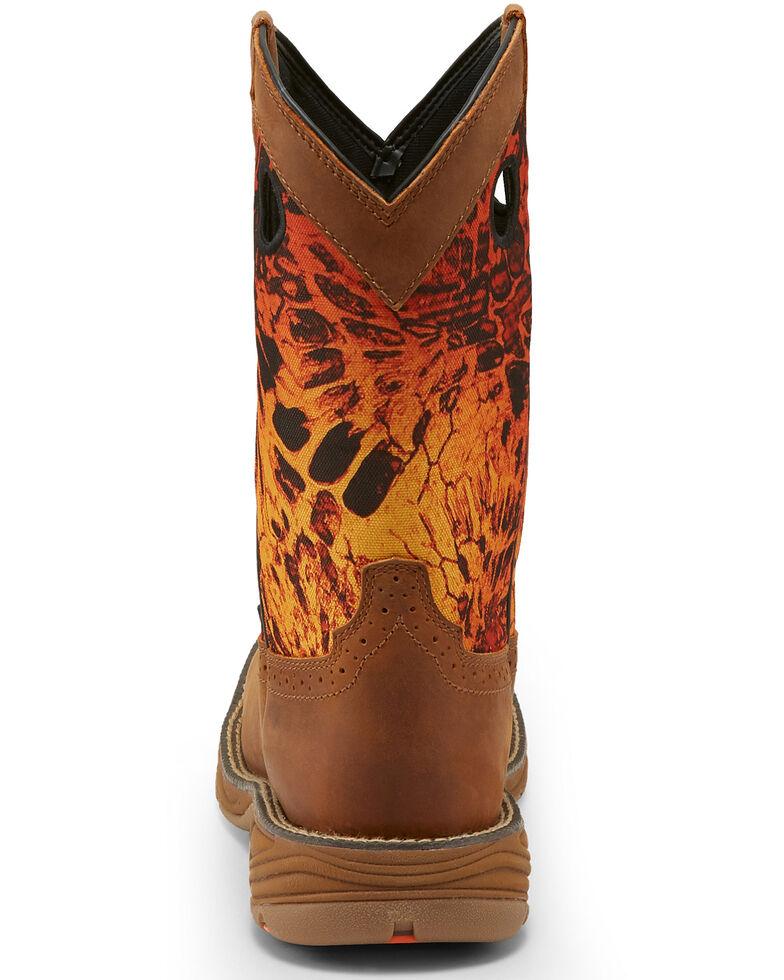 Justin Men's Stampede Rush Western Work Boots - Square Toe, Orange, hi-res
