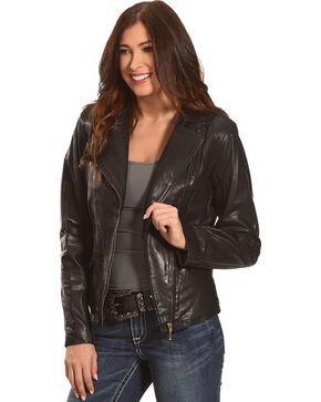 Scully Women's Black Short Leather Jacket , Black, hi-res
