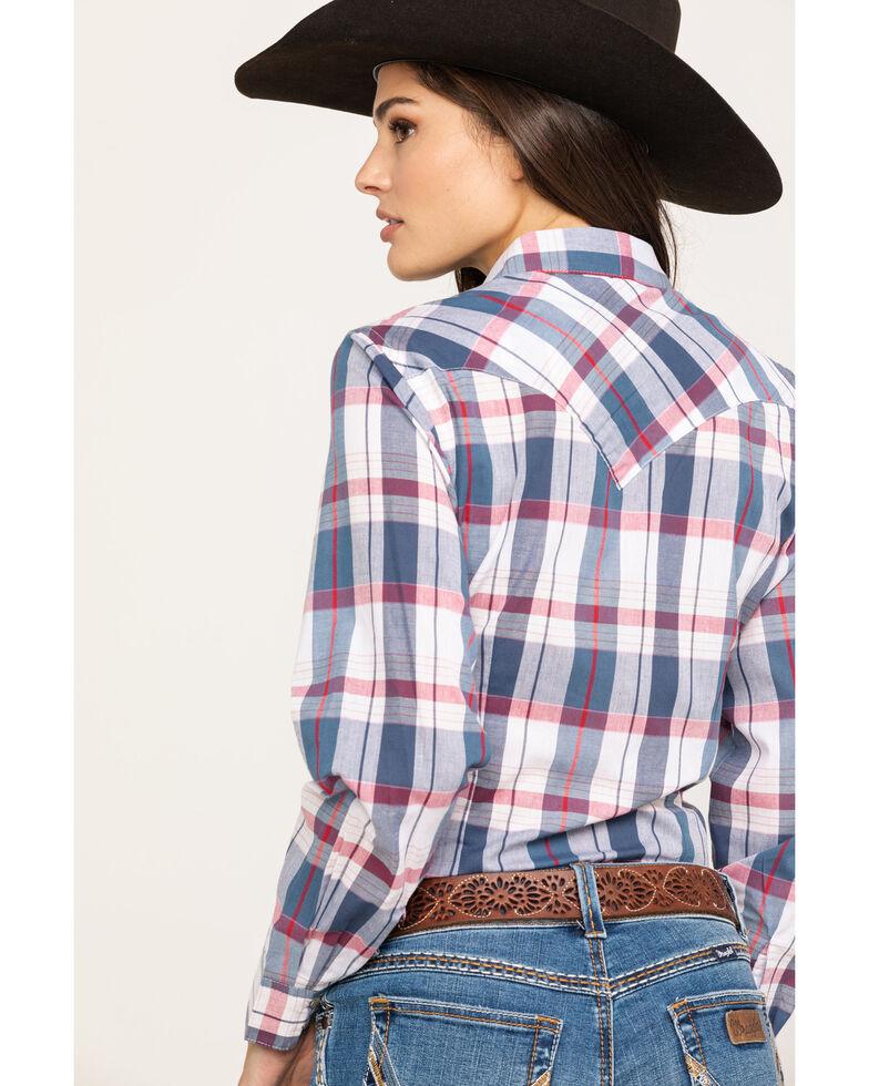 Wrangler Women's Red White & Blue Lurex Plaid Long Sleeve Western Shirt, Red/white/blue, hi-res