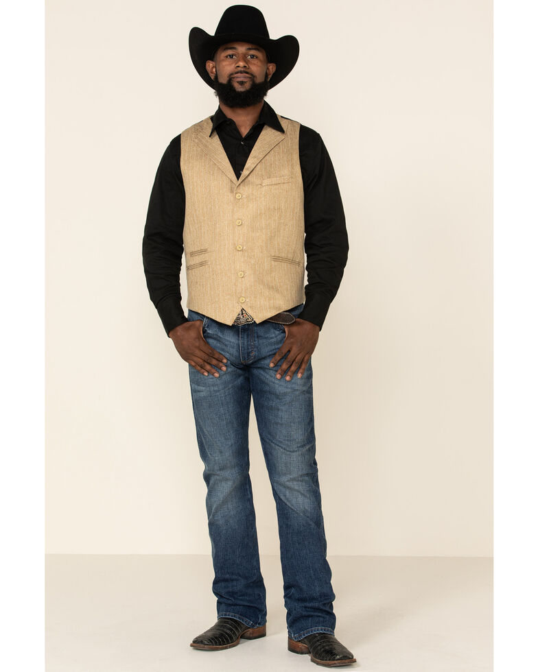 Scully Men's Wheat Pinstripe Herringbone Lined Vest   , Tan, hi-res