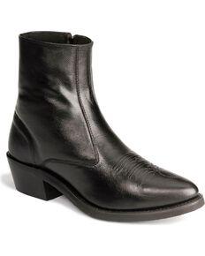 Old West Men's Zipper Western Ankle Boots, Black, hi-res