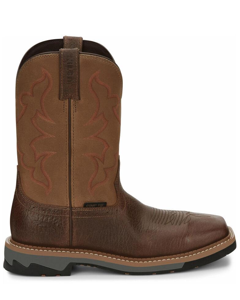Justin Men's Carbide Western Work Boots - Composite Toe, Brown, hi-res