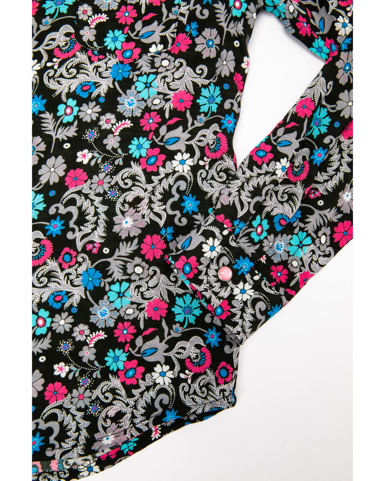Five Star Girls' Floral Snap Long Sleeve Western Shirt , Black, hi-res