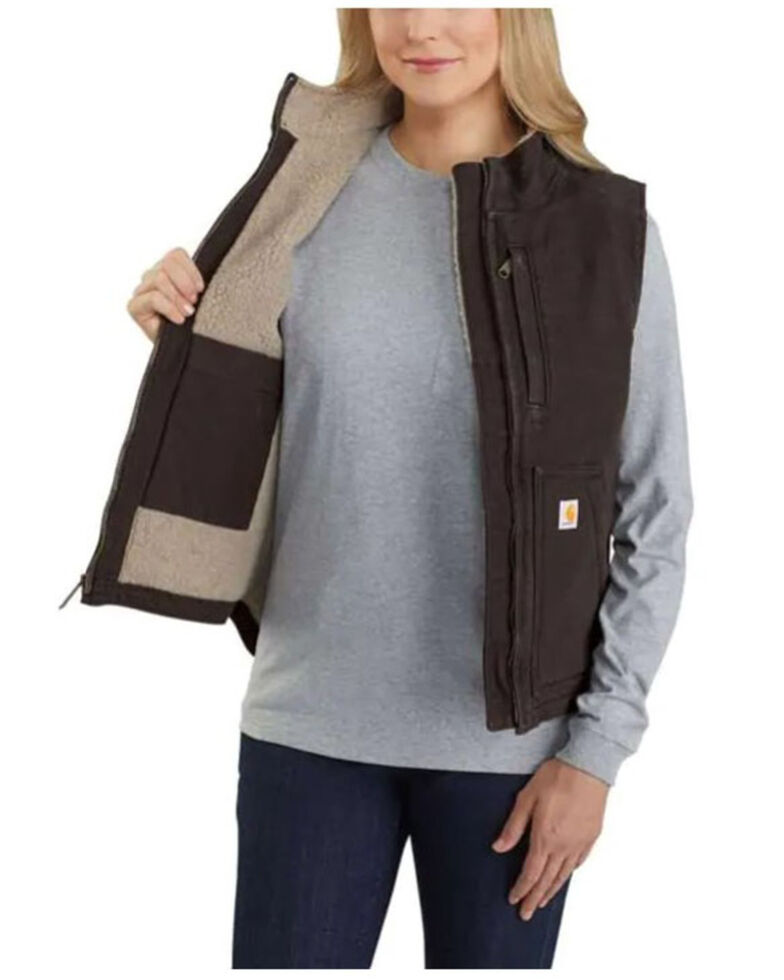 Carhartt Women's Taupe Washed Duck Sherpa Lined Vest , , hi-res
