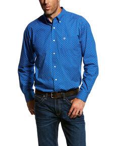 Ariat Men's Ohlinger Geo Print Long Sleeve Western Shirt - Big & Tall , Blue, hi-res