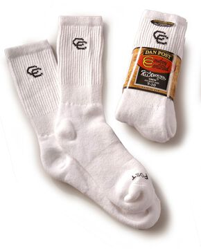 Dan Post mens Cowboy Certified crew socks (2-pack) - sizes 7-10, White, hi-res