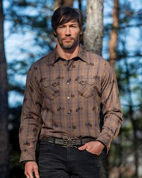 Ryan Michael Men's Brown Bucking Horse Ombre Plaid Shirt , Brown, hi-res