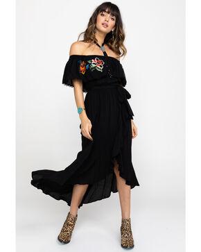 Flying Tomato Women's Embroidered Peasant Off Shoulder Hi Lo Dress, Black, hi-res