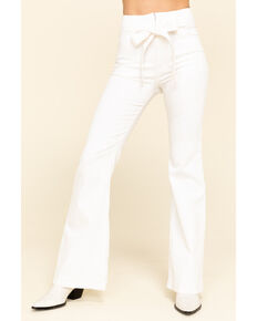 Flying Tomato Women's Tie Front Flare Jeans, White, hi-res
