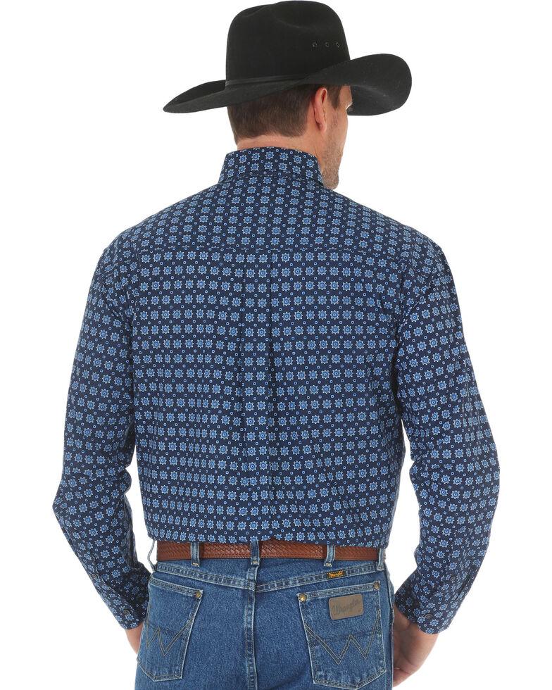 George Strait By Wrangler Men's Blue Geo Poplin Print Long Sleeve Western Shirt , Blue, hi-res