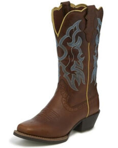 Justin Women's Durant Western Boots - Narrow Square Toe, Lt Brown, hi-res