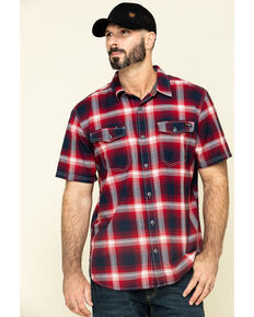 Hawx Men's Bullhead Indigo Plaid Short Sleeve Work Shirt - Tall , Black Cherry, hi-res