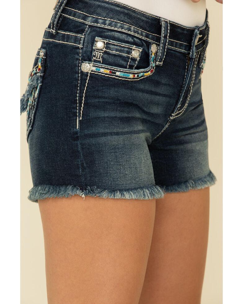 Miss Me Women's Dark Wash Embroidered Feather Frayed Hem Shorts, Blue, hi-res