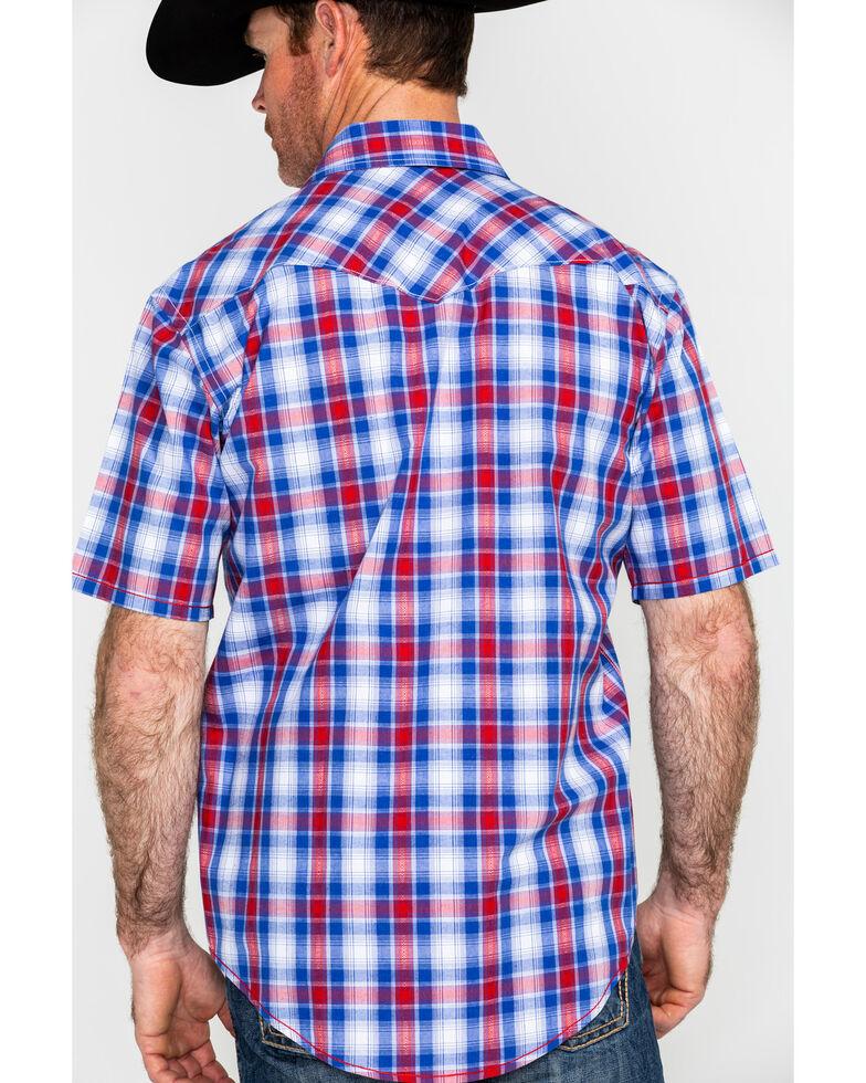 Rough Stock By Panhandle Men's Oak Creek Vintage Ombre Plaid Short Sleeve Western Shirt , Blue, hi-res