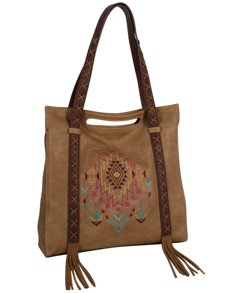 Catchfly Women's Kristan Aztec Tote Bag, Brown, hi-res
