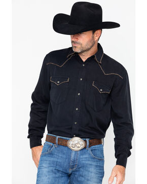 Panhandle Men's Long Sleeve Western Shirt, Black, hi-res