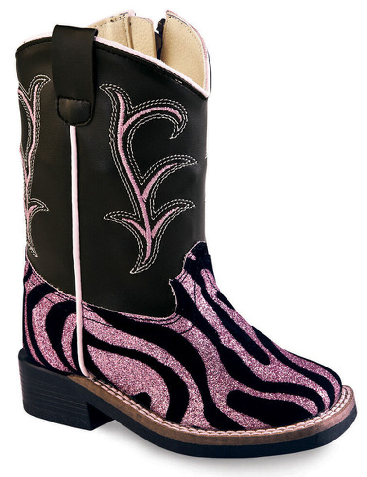 aec41aa8b62 Old West Toddler Girls' Pink and Black Western Boots - Square Toe