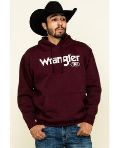 Wrangler Men's Maroon Logo Graphic Hooded Sweatshirt , Maroon, hi-res