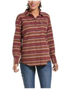 Ariat Women's Cabernet Stripe Rebar Flannel Durastretch Long Sleeve Work Shirt, Wine, hi-res