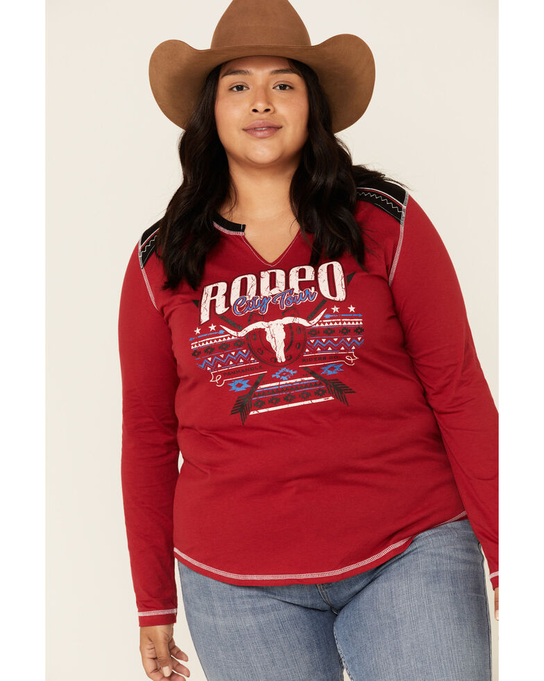 White Label by Panhandle Women's Red Rodeo City Tour Fringe Tee - Plus, Red, hi-res