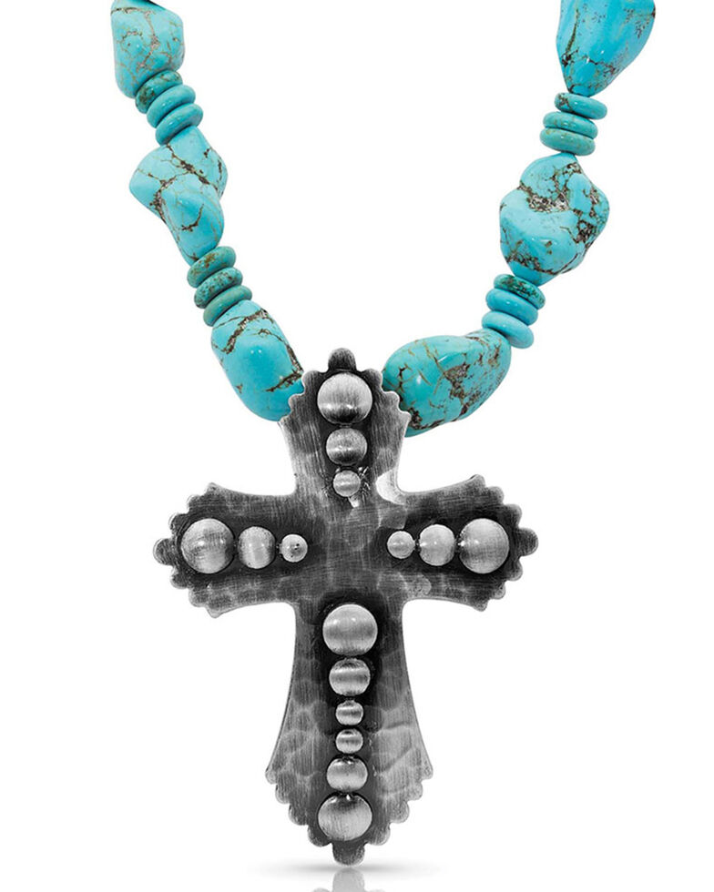 Montana Silversmiths Women's Faith At Midnight Cross Turquoise Necklace, Silver, hi-res