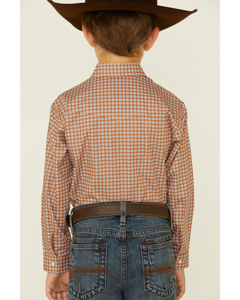 Amarillo Boys' Copper Ridge Criss Cross Geo Print Long Sleeve Snap Western Shirt , Orange, hi-res