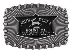 Montana Silversmiths Men's John Deere Whipped Stitch Edge Buckle , Silver, hi-res