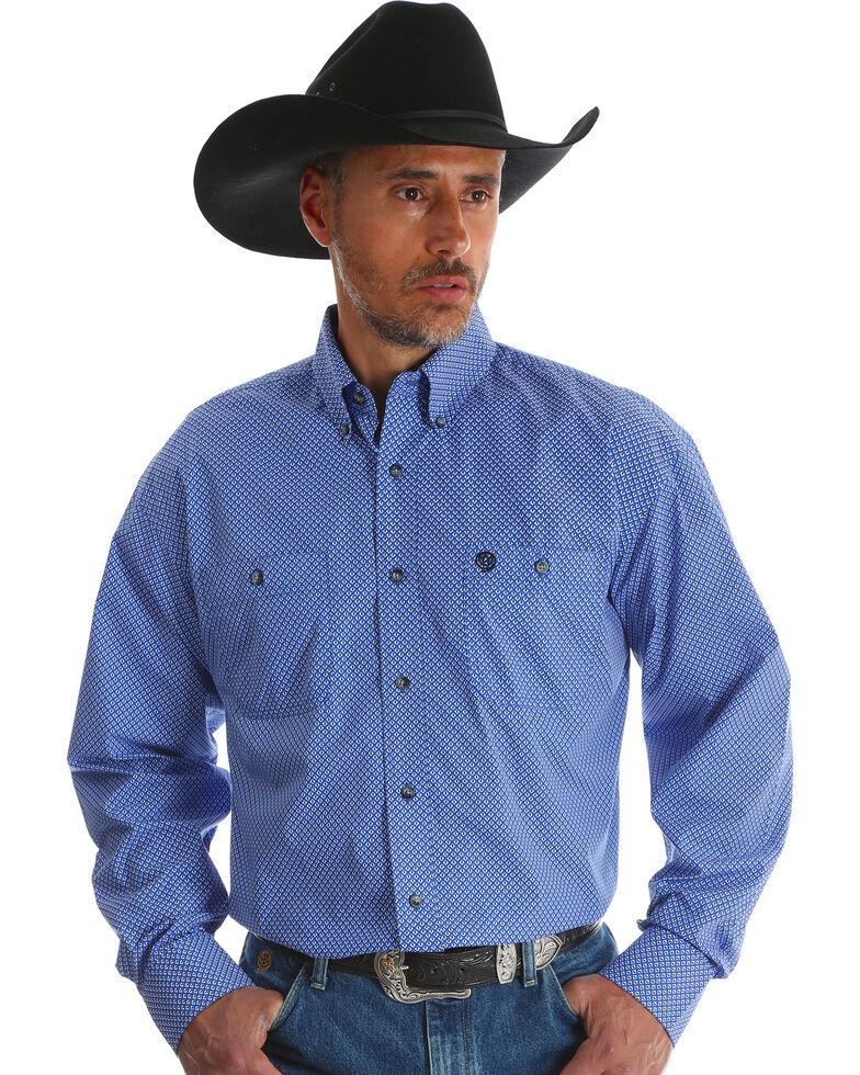 George Strait Wrangler Men's Blue Print Long Sleeve Western Shirt , Blue, hi-res