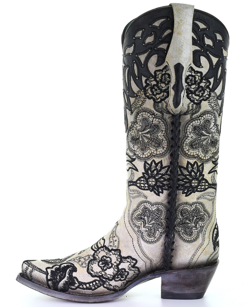 Corral Women's Floral Embroidery Western Boots - Snip Toe, Black/white, hi-res
