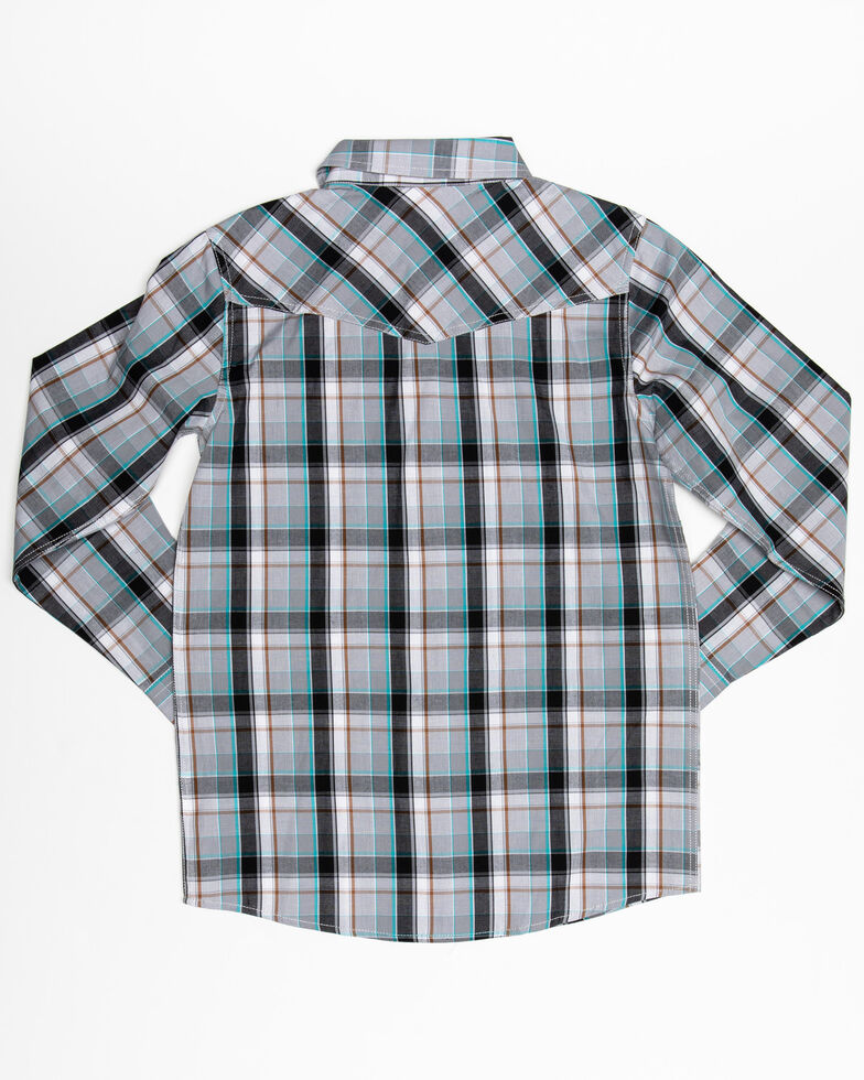 Cody James Boys' Silver Bullet Plaid Long Sleeve Western Shirt , Silver, hi-res