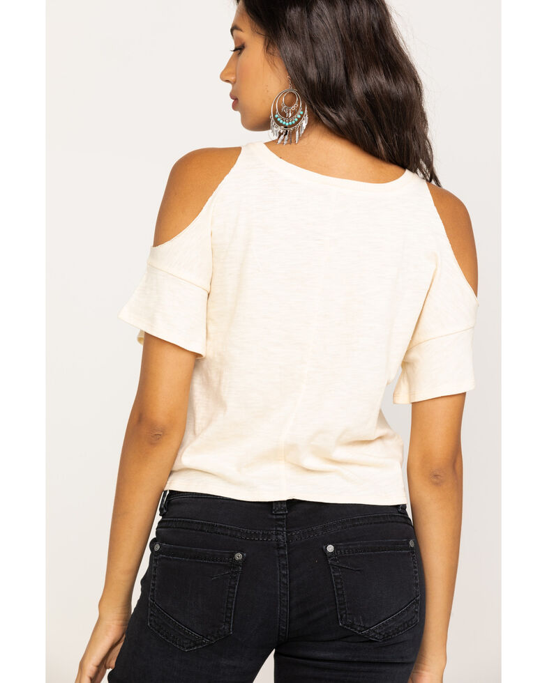 Shyanne Women's Ivory Wake Up Whiskey Cold Shoulder Tee, Ivory, hi-res