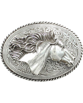 Nocona 3D Horse Head Belt Buckle, Silver, hi-res