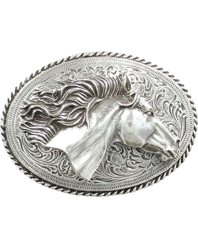 Nocona 3D Horse Head Belt Buckle, Silver, hi-res