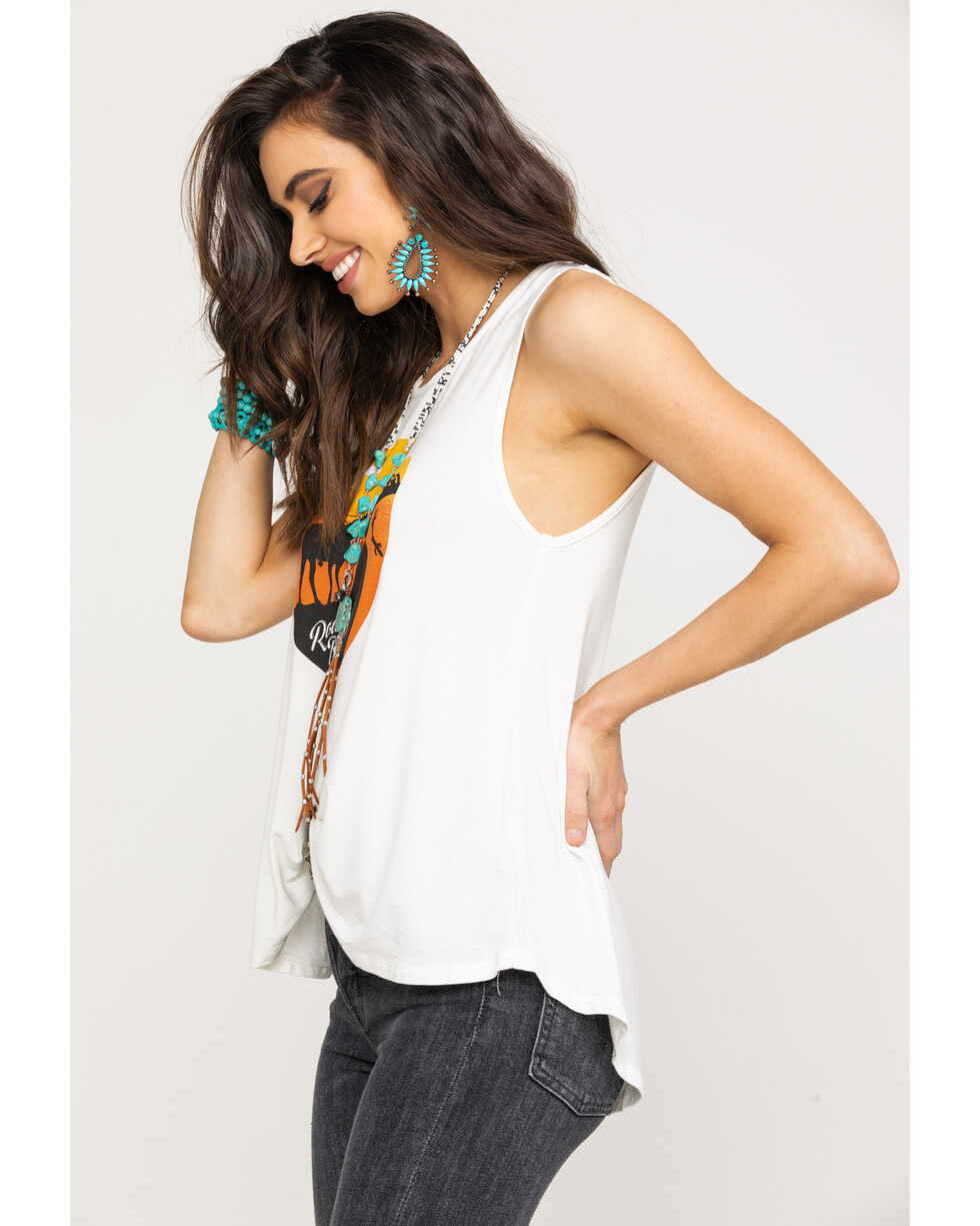 Rock & Roll Cowgirl Women's White Road Trippin' Netted Back Tank Top, White, hi-res