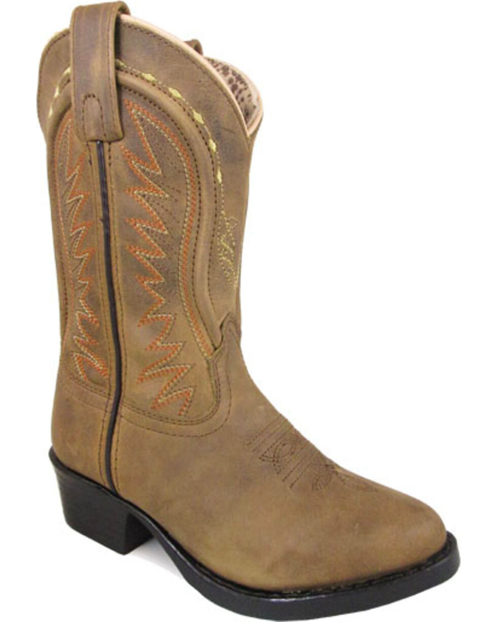Smoky Mountain Youth Girls' Brown Sienna Leather Boots - Round Toe , Tan, hi-res